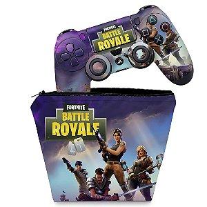 KIT Capa Case e Skin PS4 Controle  - Fortnite Battle Royale