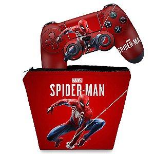 KIT Capa Case e Skin PS4 Controle  - Homem Aranha Spider-Man