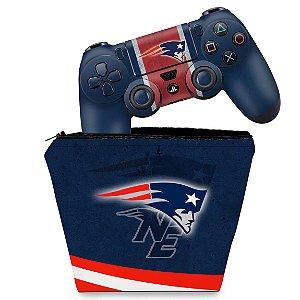 KIT Capa Case e Skin PS4 Controle  - New England Patriots Nfl