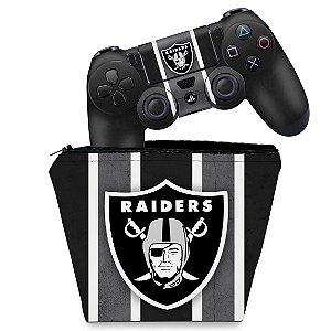 KIT Capa Case e Skin PS4 Controle  - Oakland Raiders Nfl