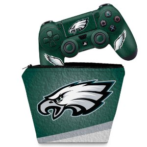 KIT Capa Case e Skin PS4 Controle  - Philadelphia Eagles Nfl