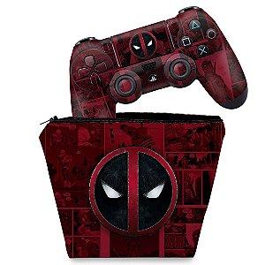 KIT Capa Case e Skin PS4 Controle  - Deadpool Comics