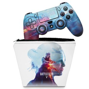 KIT Capa Case e Skin PS4 Controle  - Battlefield V