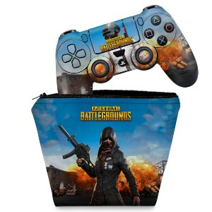 KIT Capa Case e Skin PS4 Controle  - Players Unknown Battlegrounds Pubg