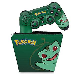 KIT Capa Case e Skin PS4 Controle  - Pokemon Bulbasaur