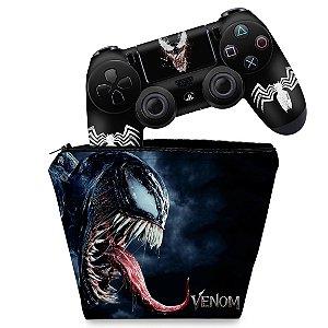 KIT Capa Case e Skin PS4 Controle  - Venom