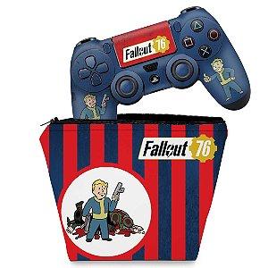 KIT Capa Case e Skin PS4 Controle  - Fallout 76