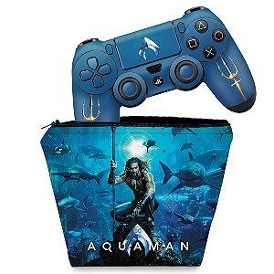 KIT Capa Case e Skin PS4 Controle  - Aquaman
