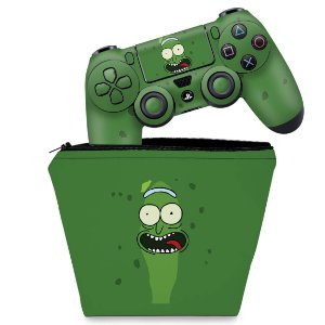 KIT Capa Case e Skin PS4 Controle  - Pickle Rick And Morty