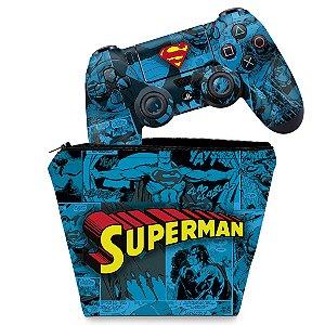 KIT Capa Case e Skin PS4 Controle  - Super Homem Superman Comics