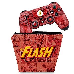 KIT Capa Case e Skin PS4 Controle  - The Flash Comics