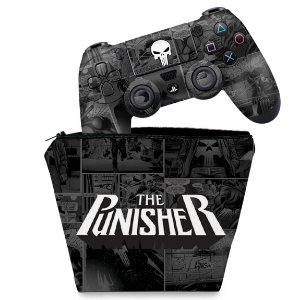 KIT Capa Case e Skin PS4 Controle  - The Punisher Justiceiro Comics