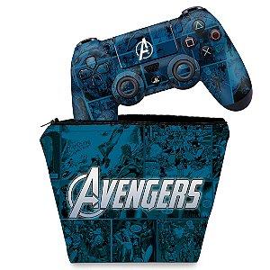 KIT Capa Case e Skin PS4 Controle  - Avengers Vingadores Comics