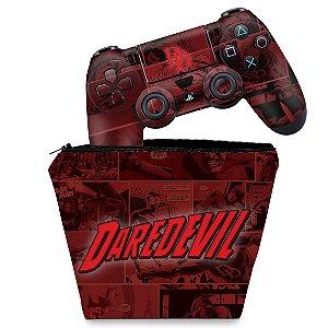 KIT Capa Case e Skin PS4 Controle  - Daredevil Demolidor Comics