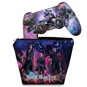 KIT Capa Case e Skin PS4 Controle  - Devil May Cry 5