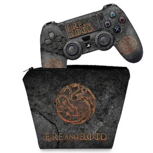 KIT Capa Case e Skin PS4 Controle  - Game Of Thrones Targaryen