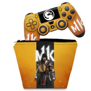 KIT Capa Case e Skin PS4 Controle  - Mortal Kombat 11