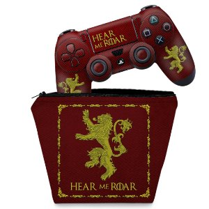 KIT Capa Case e Skin PS4 Controle  - Game Of Thrones Lannister