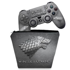 KIT Capa Case e Skin PS4 Controle  - Game Of Thrones Stark