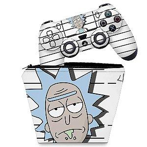 KIT Capa Case e Skin PS4 Controle  - Rick Rick And Morty