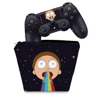 KIT Capa Case e Skin PS4 Controle  - Morty Rick And Morty