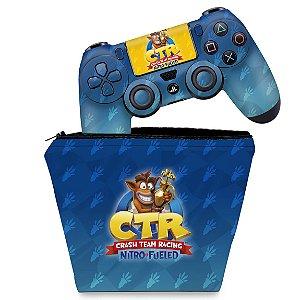 KIT Capa Case e Skin PS4 Controle  - Crash Team Racing Ctr
