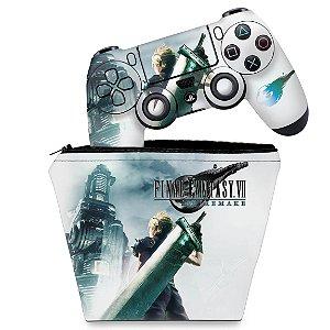 KIT Capa Case e Skin PS4 Controle  - Final Fantasy 7 Remake