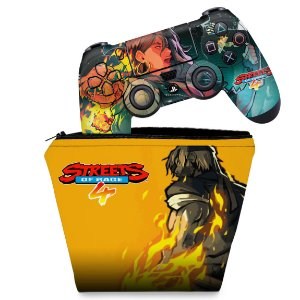KIT Capa Case e Skin PS4 Controle  - Streets Of Rage 4