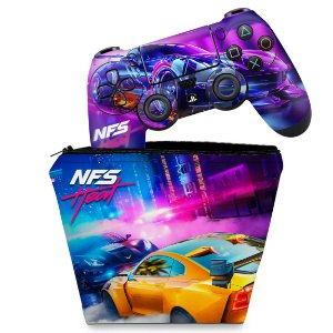 KIT Capa Case e Skin PS4 Controle  - Need For Speed Heat