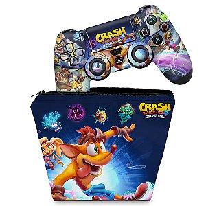 KIT Capa Case e Skin PS4 Controle  - Crash Bandicoot 4