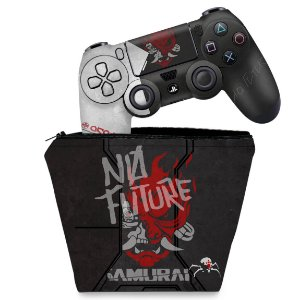 KIT Capa Case e Skin PS4 Controle  - Cyberpunk 2077 Bundle