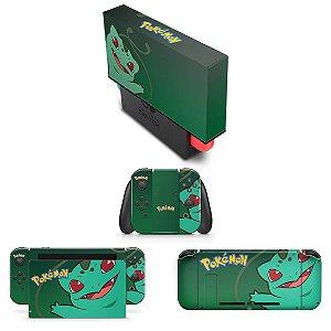 KIT Nintendo Switch Skin e Capa Anti Poeira - Pokémon Bulbasaur