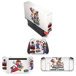 KIT Nintendo Switch Skin e Capa Anti Poeira - Super Mario Odyssey