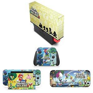 KIT Nintendo Switch Skin e Capa Anti Poeira - New Super Mario Bros. U