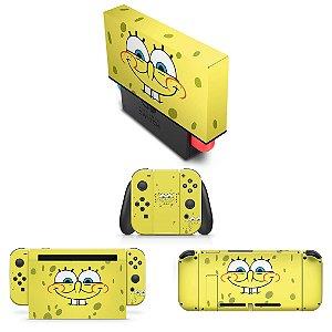 KIT Nintendo Switch Skin e Capa Anti Poeira - Bob Esponja