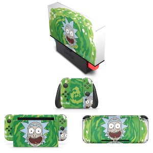 KIT Nintendo Switch Skin e Capa Anti Poeira - Rick And Morty