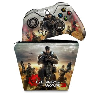 KIT Capa Case e Skin Xbox One Fat Controle - Gears of War