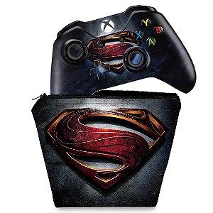 KIT Capa Case e Skin Xbox One Fat Controle - Superman - Super Homem