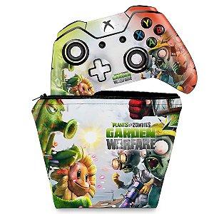 KIT Capa Case e Skin Xbox One Fat Controle - Plants Vs Zombies Garden Warfare
