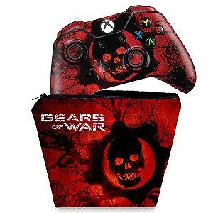 KIT Capa Case e Skin Xbox One Fat Controle - Gears of War - Skull