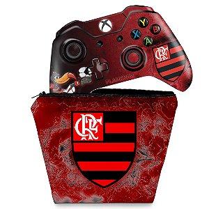 KIT Capa Case e Skin Xbox One Fat Controle - Flamengo