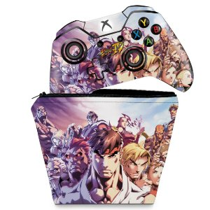 KIT Capa Case e Skin Xbox One Fat Controle - Street Fighter
