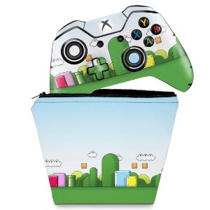 KIT Capa Case e Skin Xbox One Fat Controle - Super Mario
