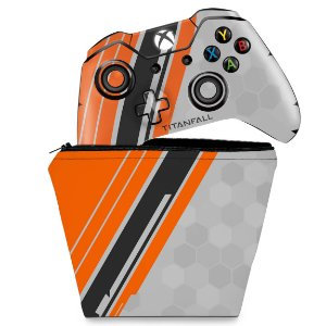KIT Capa Case e Skin Xbox One Fat Controle - Titanfall Edition