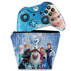 KIT Capa Case e Skin Xbox One Fat Controle - Frozen