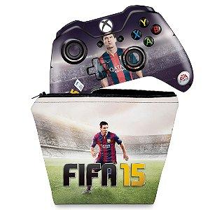 KIT Capa Case e Skin Xbox One Fat Controle - FIFA 15