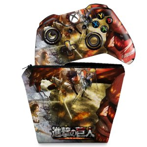 KIT Capa Case e Skin Xbox One Fat Controle - Attack on Titan #A