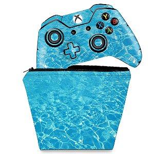 KIT Capa Case e Skin Xbox One Fat Controle - Aquático Água
