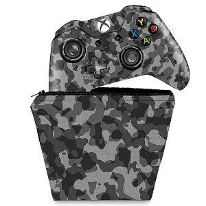 KIT Capa Case e Skin Xbox One Fat Controle - Camuflagem Cinza