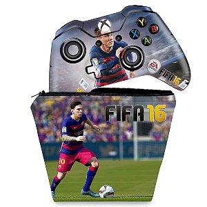 KIT Capa Case e Skin Xbox One Fat Controle - FIFA 16